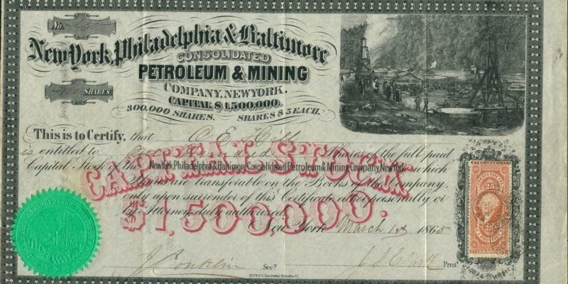 New York, Philadelphia and Baltimore Consolidated Petroleum and Mining, $1,500,000 stock