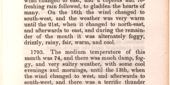 August 1793 entry from A Meteorological Account of the Weather in Philadelphia: from January 1, 1790, to January 1, 1847, including Fifty-Seven Years
