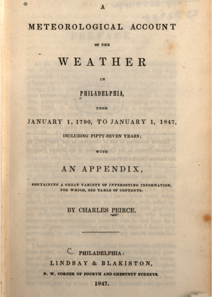 Title page of A Meteorological Account of the Weather in Philadelphia: from January 1, 1790, to January 1, 1847, including Fifty-Seven Years