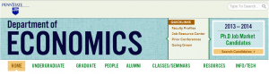 The new banner for the department of economics