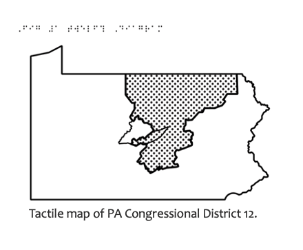 Map of PA Congressional District 12 with Braille title