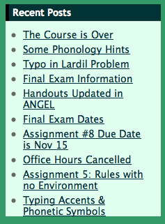 Sample Blog Titles like Some Phonology Hints, Typo in Problem, Exam Information, Handouts Updated in ANGEL