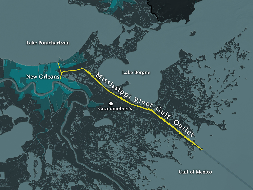 mississippi river gulf outlet map Storm Surge Evaluation Of The Risk Of Flooding In New Orleans mississippi river gulf outlet map