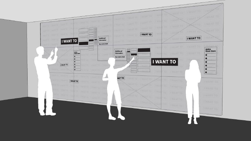 Gallagher's concept art depicting persons using a touchscreen wall, exploring engagement opportunities
