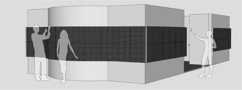 Gallagher's proposed design for a curved wall with LED lights acting as a marquee