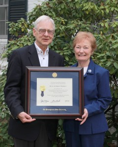 Engineering Dean David Wormley, left, and his wife Shirley were honored earlier this year with the David and Shirley Wormley Excellence Fund for the Support of World-Class Engineers. Earlier this year, the long-time engineering dean announced his plan to retire from Penn State.