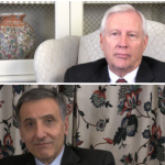 Still shots from the interviews conducted with President Rodney Erickson (top) and Dean Amr Elnashai (bottom).