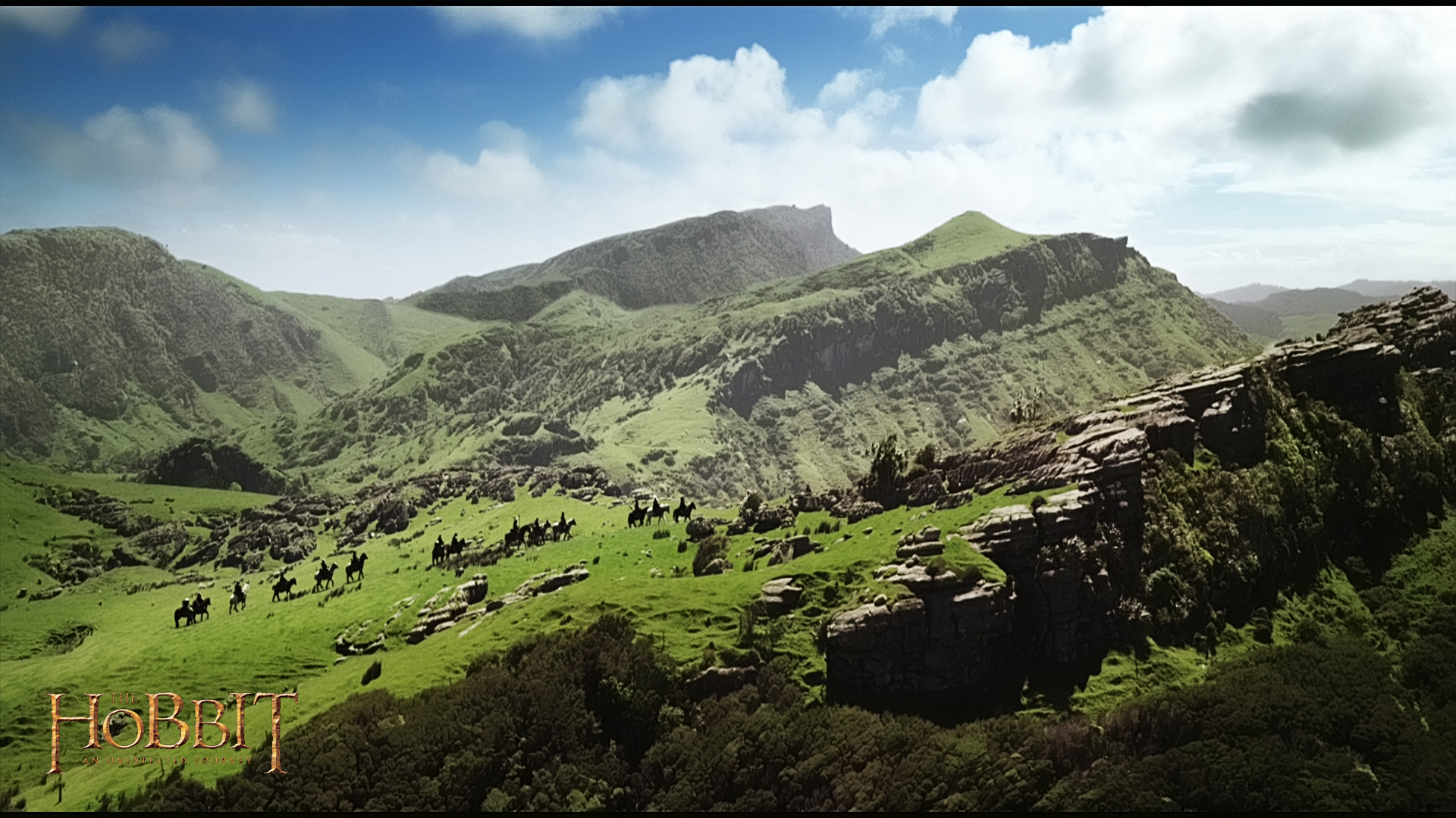 "Hobbit scene with the best song ever. Seriously. Look up ""Over Hill"" and wait for it :)"