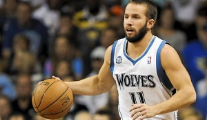 Timberwolves point guard J.J. Barea brings the ball upcourt during Minnesota's game against the Milwaukee Bucks in Sioux Falls, SD on  Thursday Oct 10, 2013.  (AP Photo/Dave Weaver)