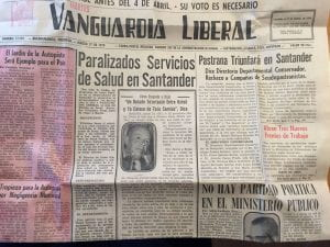 Unfolded newspaper page, from Bucaramanga Colombia - March 17, 1970