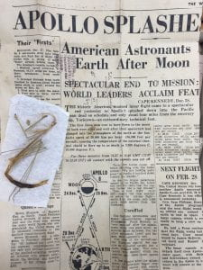 A mantid specimen that had been wrapped in newspaper covering the Apollo 8 mission