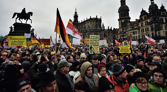 Against multiculturalism: Supporters of the PEGIDA (Patriotic Europeans Against the Islamization of the West) movement protest with banners and German flags at the Theaterplatz Square in Dresden, Germany (Jan. 25, 2015). Source: Mehmet Kaman/Anadolu Agency/Getty Images