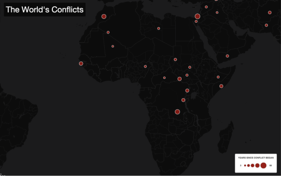 The World's Conflicts, 2015, retrieved from https://emmeline.cartodb.com/viz/b69015da-136a-11e5-a64a-0e43f3deba5a/embed_map