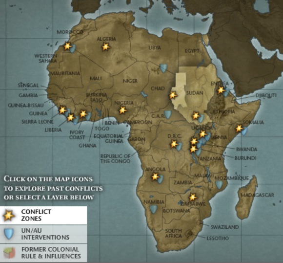 Africa's Conflict Zones, 2006, retrieved from http://www.cfr.org/world/africas-conflict-zones/p14543