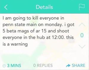 Shim's Yik Yak post from Sunday afternoon
