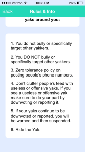 """A screenshot displays the """"Rules & Info"""" page available on Yik Yak's extra options tab"""