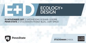 Flyer describing symposium on november 1 from 8:30 to 5:00 pm in the Stuckeman Family Building Jury Space on ecology + design
