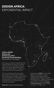 Flyer showing map of the continent of Africa with lines reaching away to demonstrate exponential reach effect.