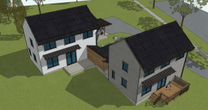 Artists' rendering of two connected homes on green lawn