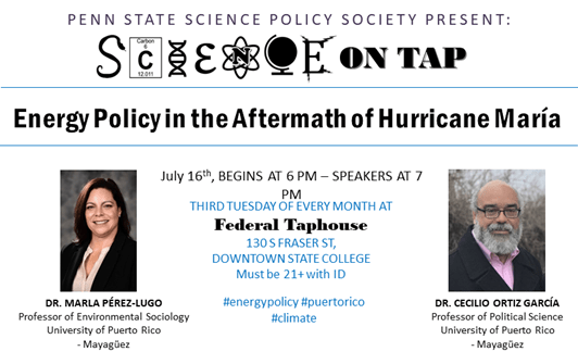 "Event poster - Science on Tap: ""Energy Policy in the Aftermath of Hurricane María"""