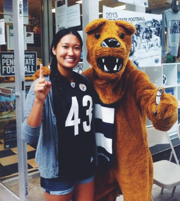With the Nittany Lion