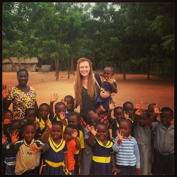 Julia and some of the kids from the school their farm was benefiting.