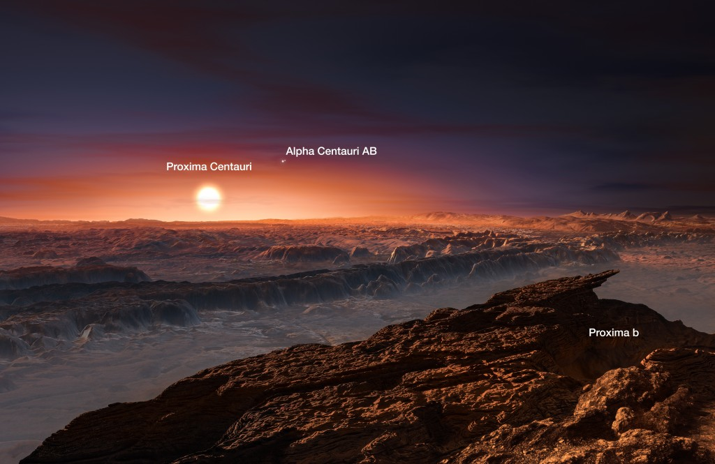 Artist's impression of the Alpha Centauri stellar system as viewed from the surface of the habitable-zone planet Proxima b (Image credit: ESO/M. Kornmesser)