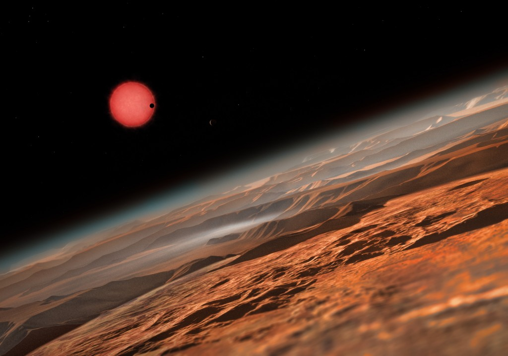Artist's impression of TRAPPIST-1 as seen from the outermost of its three transiting planets. Image credit: ESO/M. Kornmesser