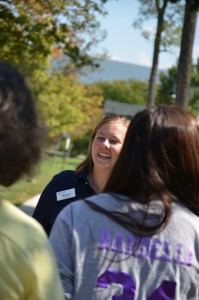 Rachel Fowkes shows prospective students and their families around campus