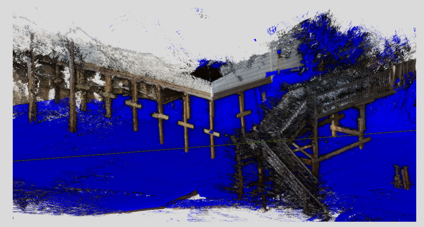 "Here's the colorized point cloud of the deck and the blue ""bare-earth"" beach surface after I manually removed the structures"