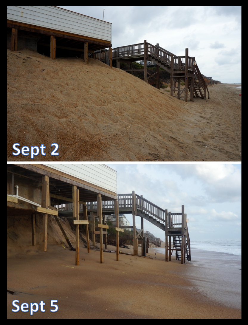 This is what the beach looked like before and after the storm - looks like adding sand under their swimming pool didn't help!