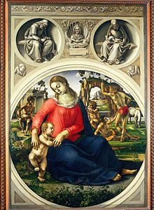 Signorelli painting of Madonna with ignudi in the background.
