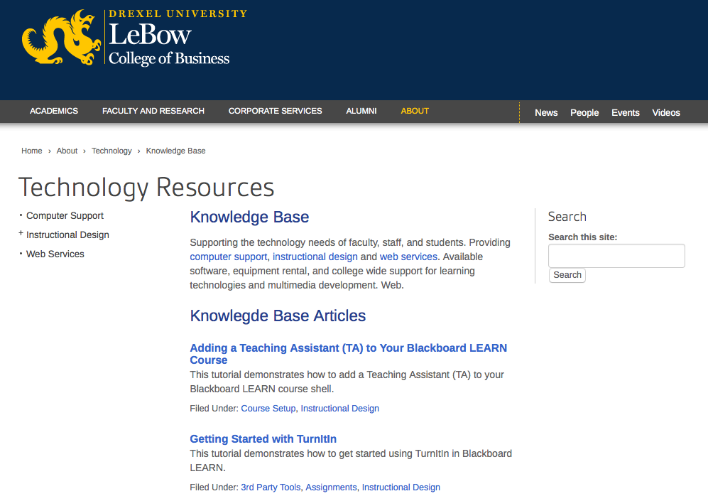Screen capture of knowledge base home page