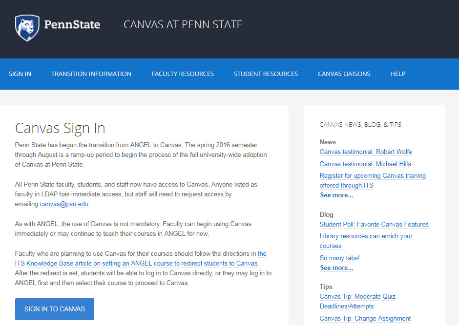 Canvas At Penn State Website Redesign K Benefield