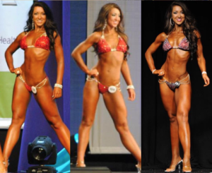 Bikini bodybuilder, Emily Duncan, on stage at competition.