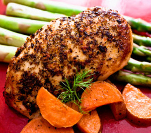 Example of a post-workout meal with protein (chicken) and carbohydrates (asparagus, sweet potato).