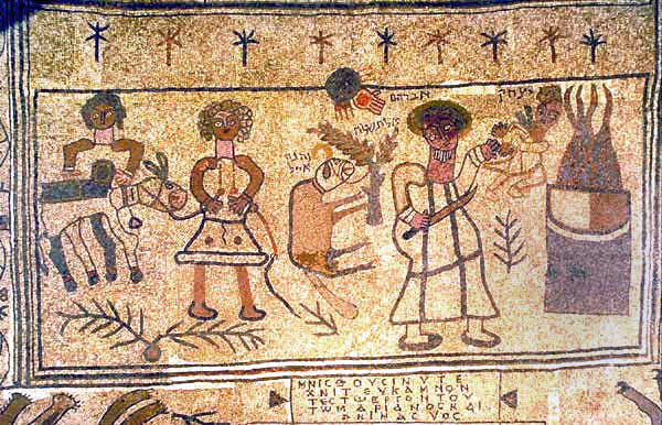 Floor mosaic in Beit Alfa Synagogue (c.5th century AD, Israel) depicting the Binding of Issac