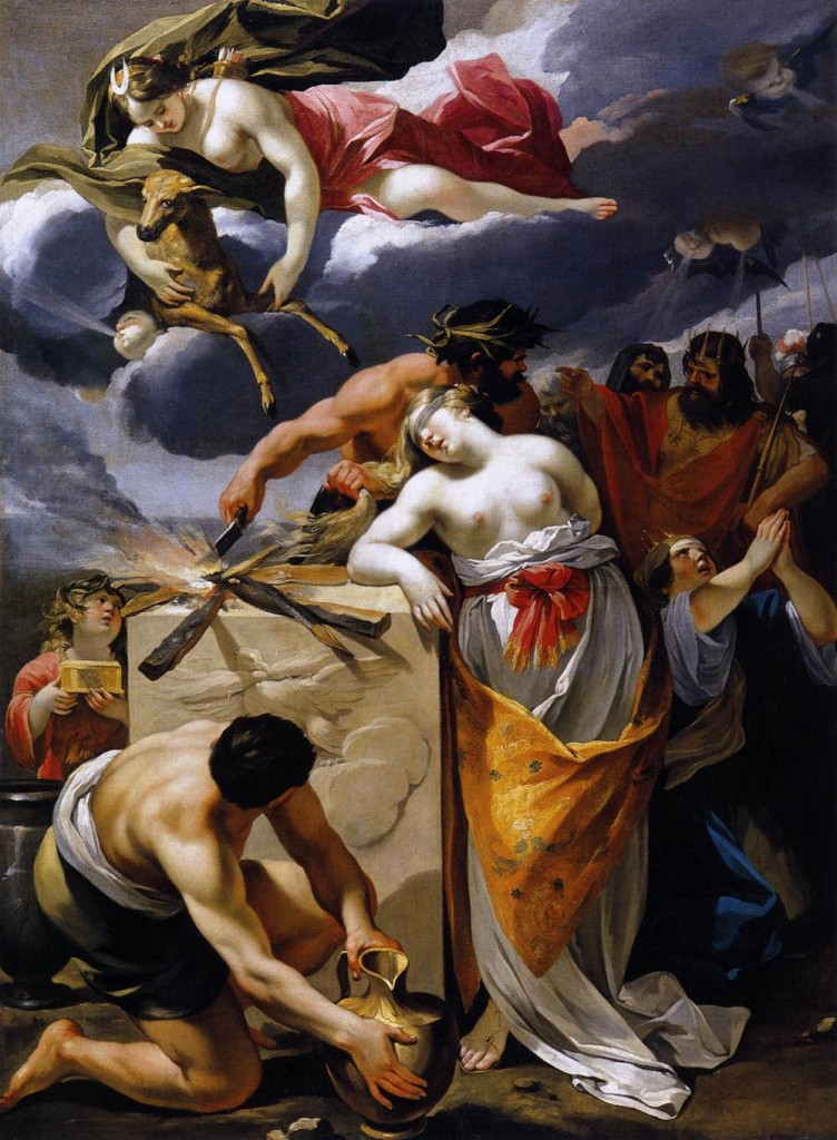 "Agamemnon sacrificing his daughter Iphigenia to appease Artemis, from  Sophocles' ""Electra"" (""The Sacrifice of Iphigenia"", 17th century painting by François Perrier, public domain art available via Wikimedia Commons)"