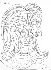 Picasso black and white line drawing of a woman.