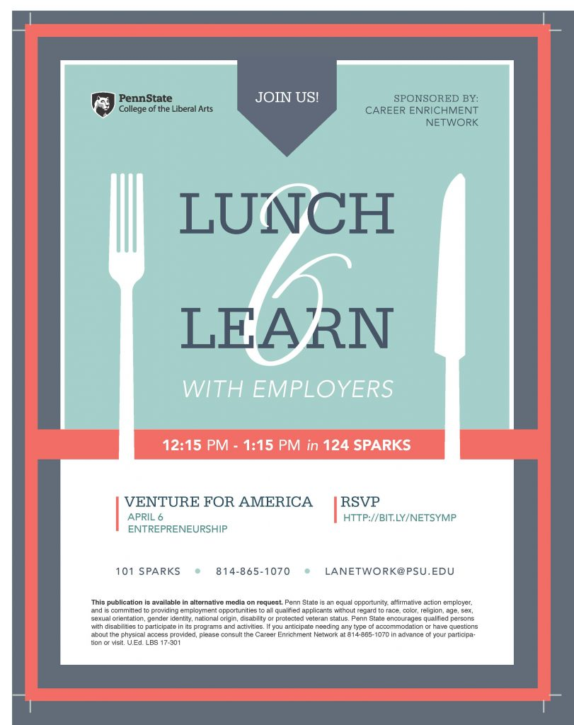 Next Lunch Learn with Venture for America April 6 Liberal Arts Blog