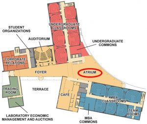 Business Building First Floor plan indicating location of Atrium, where Camp will kick off.