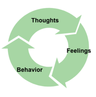 The triad - thoughts, feelings, and behaviors - feedback loop - adapted from Peterson (2006)