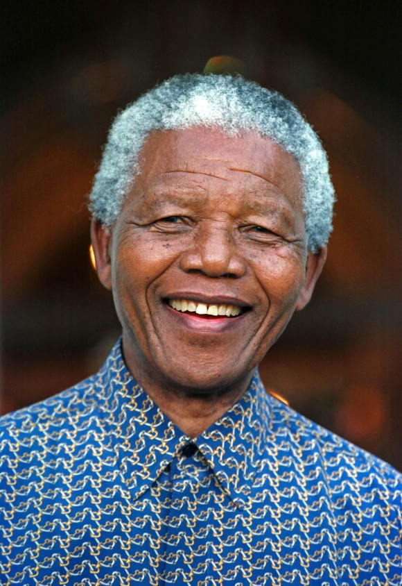 NELSON ROLIHLAHLA MANDELA (July 18, 1918 - December 5, 2013), 95, world renown civil rights activist and world leader. Mandela emerged from prison to become the first black President of South Africa in 1994. As a symbol of peacemaking, he won the 1993 Nobel Peace Prize. Joined his countries anti-apartheid movement in his 20s and then the ANC (African National Congress) in 1942. For next 20 years, he directed a campaign of peaceful, non-violent defiance against the South African government and its racist policies and for his efforts was incarcerated for 27 years. Remained strong and faithful to his cause, thru out his life, of a world of peace. Transforming the world, to make it a better place. PICTURED: Oct. 20, 1996 - Cape Town, South Africa - NELSON MANDELA, 78, on the steps of Genadenal during the visit of S. Peres of Israeli. (Credit Image: © Sasa Kralj/JiwaFoto/ZUMA24.com)
