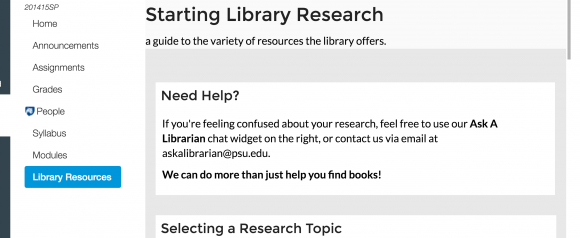 "horizontal screen capture of Canvas showing white vertical navigation bar with ""Library Resources"" area selected and highlighted in blue"
