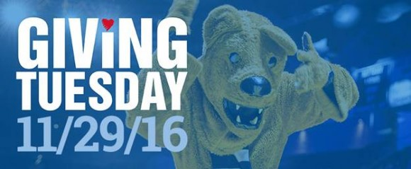 Nittany Lion with text to promote Giving Tuesday on November 29