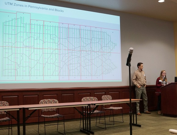 man and woman presenting a slide on the universal transverse mercator coordinate system in Pennsylvania