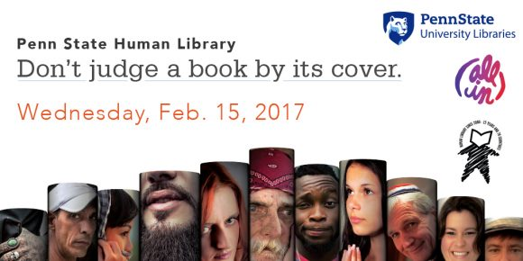 promotional graphic with information on Human Library event on Feb. 15