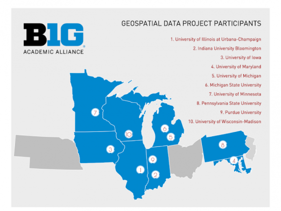 graphic showing 10 georgraphic locations of participants in the Big Ten Academic Alliance Geospatial data project