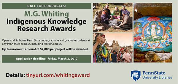 graphic with multiple images to promote a call for proposals for indigenous knowledge research awards