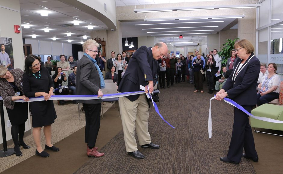 celebratory ribbon cutting for the Harrell Health Sciences Library of the Penn State College of Medicine